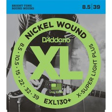 EXL130+ Nickel Wound Комплект струн для электрогитары, Extra-Super Light Plus, 8.5-39, D'Addario