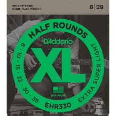 EHR330 Half Round Комплект струн для электрогитары, Extra-Super Light, 8-39, D'Addario