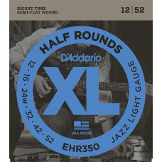 EHR350 Half Round Комплект струн для электрогитары, Jazz Light, 12-52, D'Addario