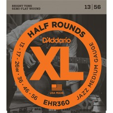 EHR360 Half Round Комплект струн для электрогитары, Jazz Medium, 13-56, D'Addario