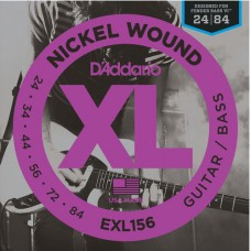 EXL156 Nickel Wound Fender Bass VI струны для эл.гитары/6-стр. бас-гитары, 24-84, D'Addario