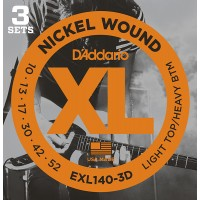 EXL140-3D Nickel Wound Струны для электрогитары, Light Top/Heavy Bottom, 10-52, 3 компл, D'Addario